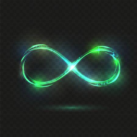 Green sparkle Infinity symbol at dark background. Drawing linear decorative illustration. Logo presentation. Mint neon glitter spark spiral wavy line. Фото со стока