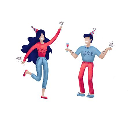 Young couple celebrating avatars characters. Group of happy, joyful people celebrating holiday, event. Man, woman characters in holiday cap dancing, having fun. People on the party.Textured hand drawn