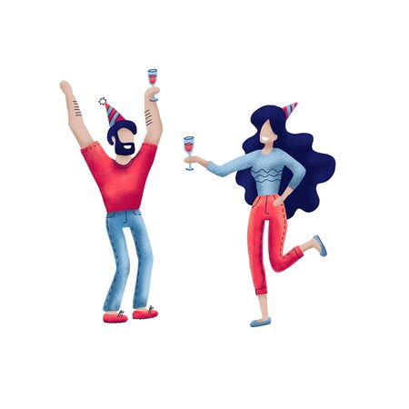 Happy people at birthday party isolated on white. Cartoon style man and women celebrate birthday. Girl with wine glass andholiday cap, boy in fest cap. textured hand drawn concept Фото со стока