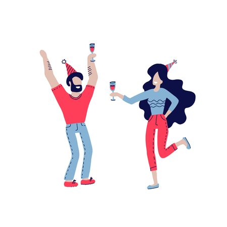Happy people at birthday party vector isolated on white. Cartoon style man and women celebrate birthday. Girl with wine glass andholiday cap, boy in fest cap.