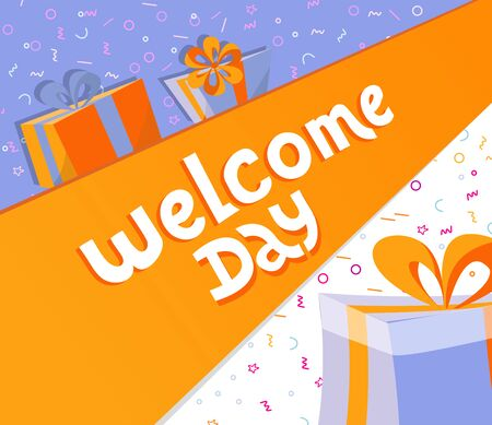 Welcome day lettering square banner with gift boxes. Black hand drawn Vector typography illustration. poster, banner, greeting template for special offer day