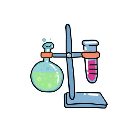 volumetric flask. Lab flasks connected with test tube illustration. round-bottom flask. Hand drawn doodle outline color illustration in childish style Иллюстрация