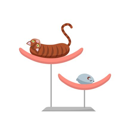 Lazy brown cat lying on pet bed, Funny cat lies on a fashionable bed with a toy mouse. Back View of striped shorthair kitten. Vector flat cartoon illustration.