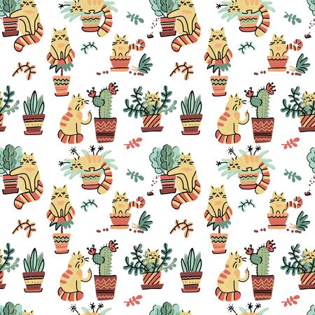 Seamless pattern with Cute hand drawn cats in different poses damaging home plants. Vector flat doodle Scandinavian cartoon characters. Cozy print design with yellow striped kittens and flower pots.