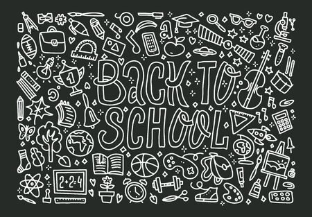Freehand chalk drawing school items on the black chalkboard. Back to School, vector illustration. Vector Background with lots of pupils objects. Uotline Concept of education with lettering Иллюстрация