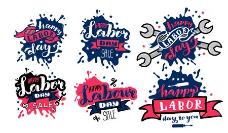 Vector Happy Labor Day concept. Sets of Labor day badge and labels design for sale promotion, party decoration National american holiday illustration. Festive poster or banner with hand lettering