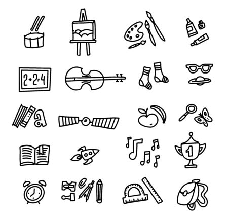 School Icons. Back To School. Hand Drawn Doodle Icon Set. Sketchy vector outline cartoon set of School objects and symbols. Freehand drawing school items.
