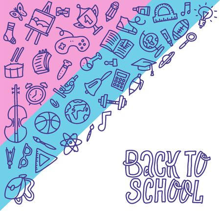 Back to school concept, outline design. Education supplies square banner. Back to school background with school supplies set, vector doodle illustration with hand lettering quote