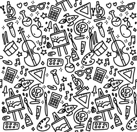 Back to school seamless vector pattern. Good for textile fabric design, wrapping paper and website wallpapers. Vector illustration. Background for education, science objects and office supplies