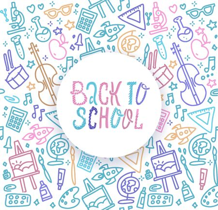 Back to School banner with texture from colorful line art icons of of education, science objects and office supplies on the notebook background Фото со стока
