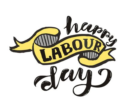 Vector hand lettering Happy labor day - May Day Celebration on May 1st. Vector illustration for Greetings, Banner, Background, Template, Badge, Symbol, Icon, Logo and Print design. Фото со стока