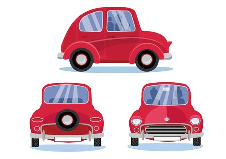 Red retro car. Cartoon automobile set in three different views: Side - Front - Back view. Cute vehicle with round headlights with driver, passenger silhouettes on white background. Flat cartoon vector.