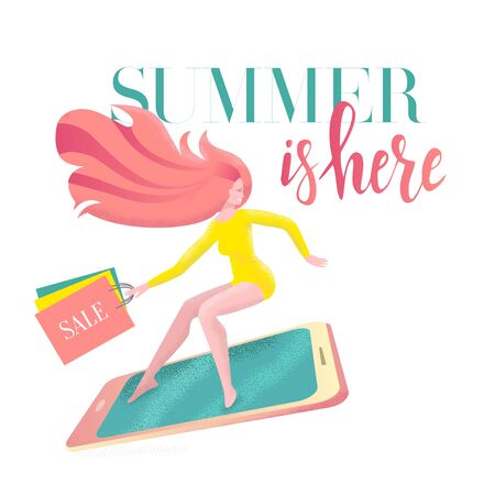 Lettering Summer is here on card with girl surfing on smartphone in a hurry to sale with shopping bags. Discount banner, advertising. Modern flat vector illustration with textures on white background.