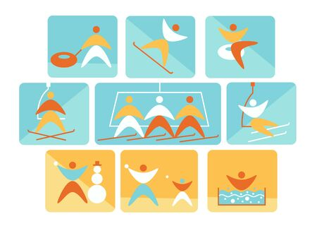Collection of winter colorful linear navigation signs icons representing skiing and other winter outdoor activities, snowtubing, snowball, ,snowboarding, snowman making,. Design for ski resort.