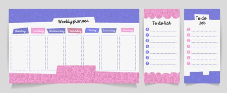 Vector kids schedule with cartoon cute shhool supplies pattern. Weekly planner. Cute list. Verctor illustration. Set of Organizer and Schedule with Notes and To Do List with educational elements Иллюстрация