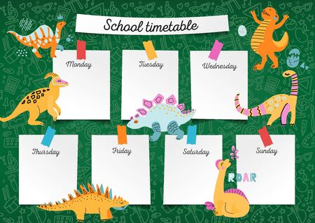 School Timetable on blackboard for any planning.Weekly lesson schedule on schoolkid notebook paper sheets on green chalkboard background with sketches of school supplies and drawn dinosaur characters.
