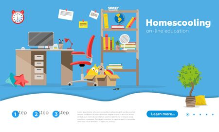 Home schooling, home education plan, homeschooling online tutor concept. Website homepage landing web page template. child's desk in the children's room flat illustration. Stockfoto - 128844004