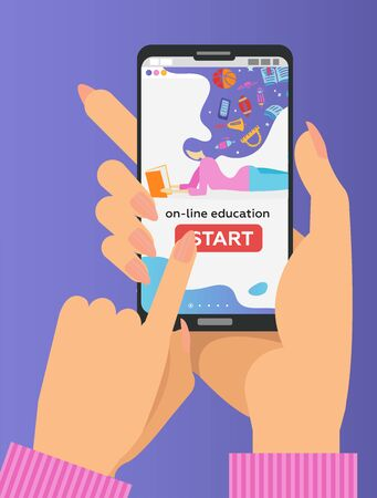 Vector online education concept in flat style. Two Hands holding mobile phone with educational app on the screen. Distant e-learning. Finger pushes start button.