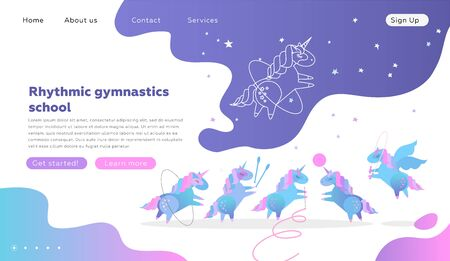 Web page design templates for rhythmic gymnastics school. Modern vector illustration concept for website development. Cute unicorns doing rhythmic gymnastics with ribbon, ball, hoop, skipping rope. Ilustrace