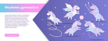 Horizontal Web banner design template for rhythmic gymnastics school. Modern vector illustration concept. Cute unicorns doing rhythmic gymnastics with ribbon, ball, hoop, skipping rope.
