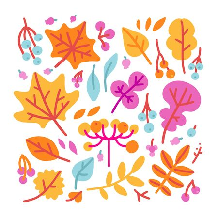 Set of bright colorful autumn leaves and berries. Isolated on white background. Simple cartoon hand drawn flat style vector illustration for kids. Illustration