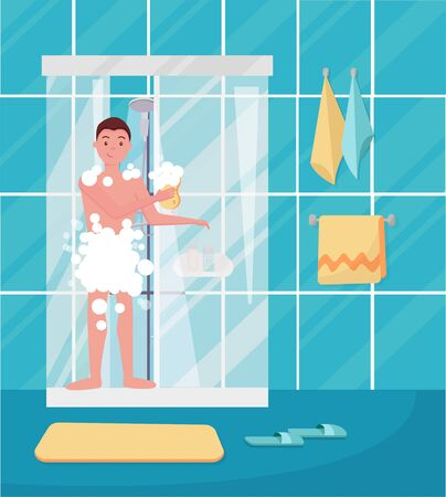Young man taking shower. Happy guy washing his head, hairs, body with soap under water. Routine hygiene procedure in bathroom interior concept design for ad discount. Flat cartoon vector illustration Archivio Fotografico - 128844100