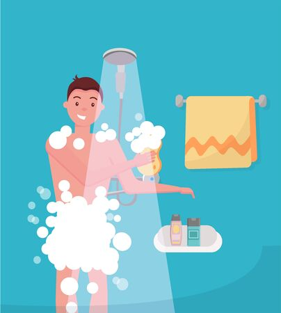 Young man taking shower in bathroom. Guy washing himself with washcloth. Morning hygiene vector concept. Showering with shampoo foam and bubble. Flat cartoon vector illustration