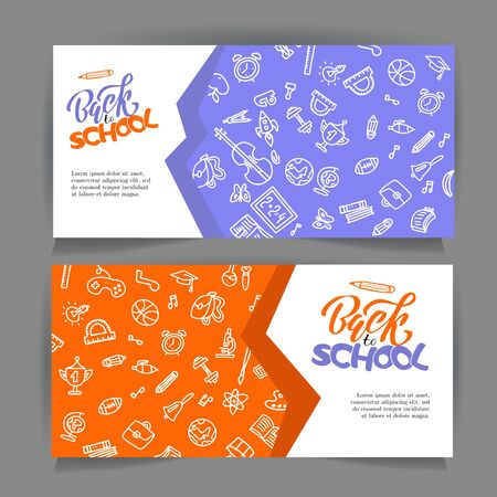 Hand drawn back to school banners . Set of Vector education design concepts with hand drawn outline doodle elements. Cute back to school sale colorful banners with lettering. Stock Illustratie