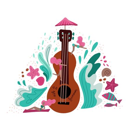 Summer holiday Music metaphor flat illustration. Cartoon girls near huge guitar hand drawn character. Scandinavian style decorative waves and shells.Music festival promo banner, poster design element.