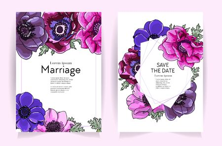 Wedding invitation frame set. Anemone flowers, leaves isolated on white. Sketched wreath, floral, herbs garland, bright color. Handdrawn Vector Watercolour scetch style,nature art background.