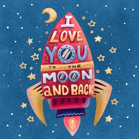 Ich liebe dich bis zum Mond und zurück. Handgezeichnetes Poster mit roter Rakete, Sternen und romantischer Phrase. Handgezeichnete flache Illustration für den Valentinstag oder Druck auf T-Shirts, Taschen im strukturierten kindlichen Stil Standard-Bild