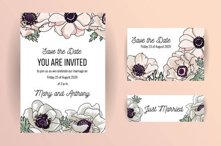 Wedding invite, invitation, save the date card design with elegant powder pink garden anemone, wax flowers leaves. Vector hand drawn sketh tender color template set
