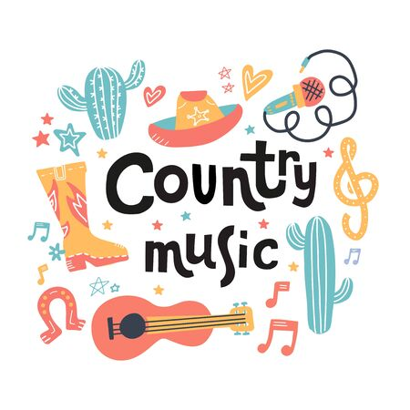 Set of symbols and mosern lettering on country music theme. Hand drawn doodle illustrations isolated on white background.. 向量圖像