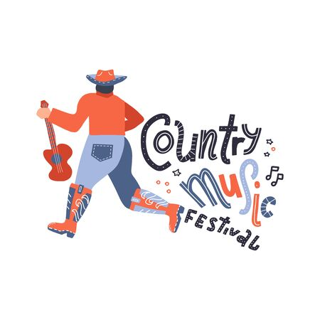 Back view of young country style singer with guitar. Modern man character in cowboy hat. Concept or print for festival banner. Vector flat hand drawn doodle illustration.