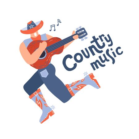 Rough illustration of young country style singer with guitar. Modern man character in cowboy hat. Concept or print for festival banner. Vector flat hand drawn doodle illustration Ilustracja