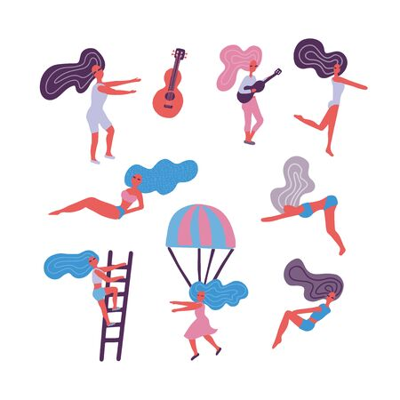 Female characters set. Cute young women in different poses. vector illustration flat design in scandinavian doodle syle. Ilustração
