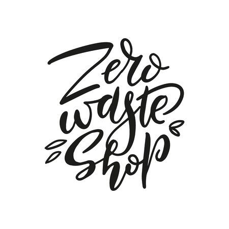 Hand drawn Zero waste shop  prink. Eco badge, tag for shopping, no plastic market, products packaging. Hand drawn elements with brush lettering and leaves. Vector organic design template Ilustração