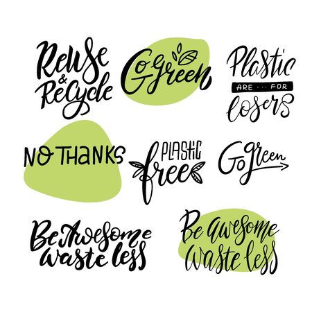 Zero waste, eco friendly, plastic polution big lettering set. Modern calligraphy quotes and phrases with green leaves. Vector illustration Ilustração