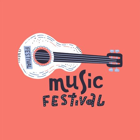 Illustration for music festival with cute acoustic guitar and lettering. Hand drawn concept for banners and postcards in flat doodle style Ilustração