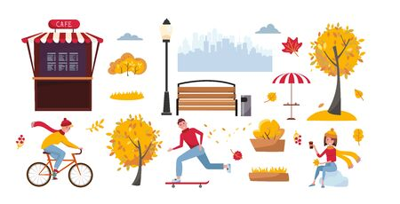 Set of objects for autumn park isolated on white background. Landscaping elements. Vector cartoon flat illustration with trees and people