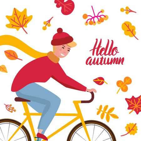 Hello autumn lettering quote card. Young man in a knitted hat on a bicycle woth bright yellow leaves on white background. Healthy lifestyle and recreation leisure activity. Vector flat illustration