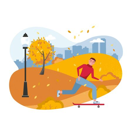 Teenager on skateboard. Young smiling skateboarder, skater in autumn park cartoon character. Skateboarding hobby, extreme leisure. Outdoor recreation, active pastime. Vector flat cartoon illustration