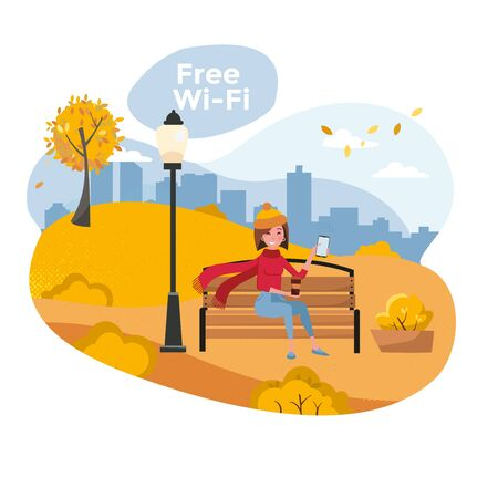 Young woman sitting in autumn park on bench with phone and holding coffee. Vector flat cartoon illustration. Free wifi zone and city park web posters. Girl enjoying fall Ilustração
