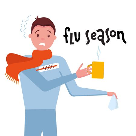 Lettering Flu Season and illustration of sick man with temperature, holding wipe handkerchief, tea mug, thermometer - ill with infection, allergy, flu or fever. Influenza. Catch a cold. Autumn leaves