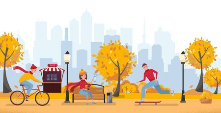 Fall season park zone with people.Large public garden in autumn, land area with yellow grass and trees for fun and recreation, happy citizens enjoy open air activities, walk. Vector flat illustration. Ilustração