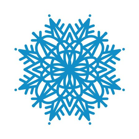 Snowflake icon. Blue silhouette snow flake sign, isolated on white background. Flat design. Symbol of winter, frozen, Christmas, New Year holiday. Graphic element decoration Vector illustration Ilustração