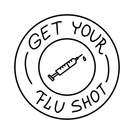 Get your Flu shot outlined black stamp on white, vector illustration with line syringe injection icon Ilustrace