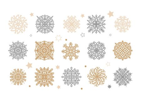 Set of gold and silver snowflakes. Holiday collection. Flakes of snow collection isolated on white background. Flat Vector illustration