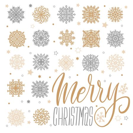 Merry Christmas Background with Gold and Silver Snowflakes on White. Vector Illustration. Ilustração