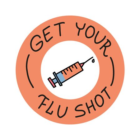 Get your flu shot. Vaccination vector poster with syringe. Hand drawn lettering with line doodle Illustration on white background 向量圖像